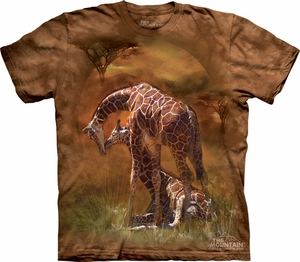 Giraffe Shirt Tie Dye Africa Sunset T-shirt Adult Tee