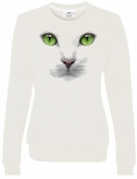 Green Eyes Cat Ladies Sweatshirt - White