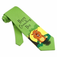 Groundhog Day Green Microfiber Tie Necktie Men's Animal Print Neck Tie