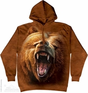 Growling Grizzly Hoodie Tie Dye Adult Hooded Sweat Shirt Hoody