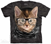 Hipster Kitten Shirt Tie Dye Adult T-Shirt Tee