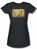 Hobbit Juniors Shirt Movie Unexpected Journey Loyalty Map Charcoal Tee