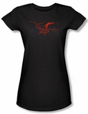 Hobbit Juniors Shirt Movie Unexpected Journey Loyalty Smaug Black Tee