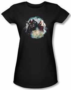 Hobbit Juniors Shirt Movie Unexpected Journey We're Fighters Black Tee