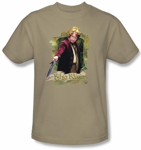 Hobbit Kids Shirt Movie Unexpected Journey Bilbo Baggins Sand T-shirt
