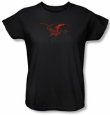 Hobbit Ladies Shirt Movie Unexpected Journey Loyalty Smaug Black Tee