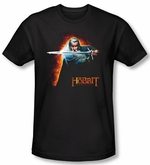 Hobbit Shirt Movie Unexpected Journey Loyalty Fire Black Slim Fit Tee