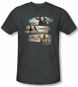 Hobbit Shirt Movie Unexpected Journey Loyalty Honour Charcoal Slim Fit