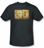 Hobbit Shirt Movie Unexpected Journey Loyalty Map Charcoal Adult Tee