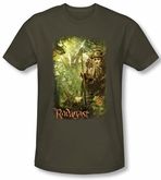 Hobbit Shirt Movie Unexpected Journey Loyalty Woods Green Slim Fit Tee
