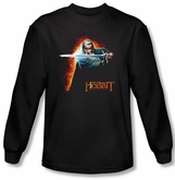 Hobbit Shirt Unexpected Journey Loyalty Fire Black Long Sleeve Tee