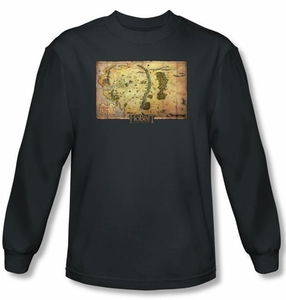 Hobbit Shirt Unexpected Journey Loyalty Map Charcoal Long Sleeve Tee