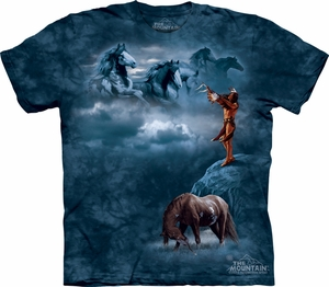 Horse Shirt Tie Dye Indian Sacred Song T-shirt Adult Tee
