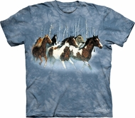 Horses Shirt Tie Dye T-shirt Winter Run Adult Tee