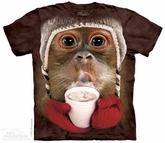 Hot Cocoa Orangutan Shirt Tie Dye Adult T-Shirt Tee