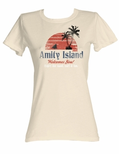 Jaws Juniors T-shirt Amity Island Dirty White Tee Shirt