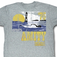 Jaws Shirt Amity Island 75 Adult Grey Tee T-Shirt