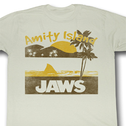 Jaws Shirt Amity Island Adult Dirty White Tee T-Shirt