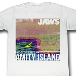 Jaws Shirt Amity Island Adult White Tee T-Shirt
