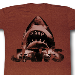Jaws Shirt Burnt Jaws Adult Heather Brown Tee T-Shirt