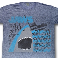Jaws Shirt Dun Dun Dun Adult Heather Blue Tee T-Shirt