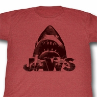 Jaws Shirt Jaws Adult Heather Red Tee T-Shirt