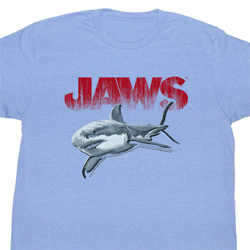 Jaws Shirt Jaws Halftone Adult Light Blue Tee T-Shirt