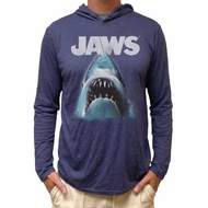 Jaws Shirt Lightweight Hoodie Logo Heather Navy Hoody