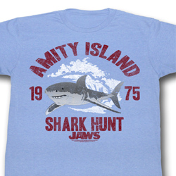 Jaws Shirt Shark Hunt Adult Light Blue Tee T-Shirt