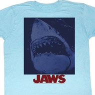 Jaws Shirt Shark Underwater Adult Light Blue Tee T-Shirt