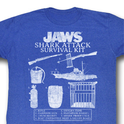 Jaws Shirt Survival Kit 2 Adult Royal Tee T-Shirt