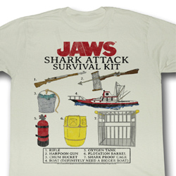 Jaws Shirt Survival Kit Adult Dirty White Tee T-Shirt