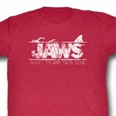 Jaws Shirt Swim Club Adult Red Heather Tee T-Shirt