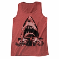 Jaws Shirt Tank Top Great White Red Heather Tanktop