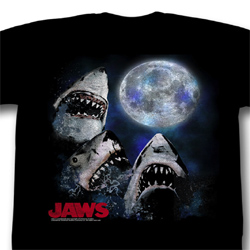 Jaws Shirt Three Shark Moon Adult Black Tee T-Shirt