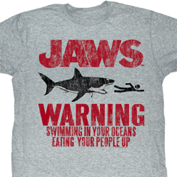 Jaws Shirt Warning Adult Heather Grey Tee T-Shirt