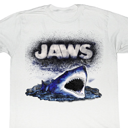 Jaws Shirt Watch Out Adult White Tee T-Shirt