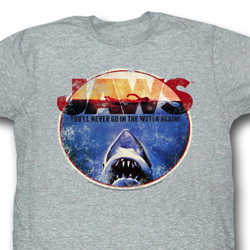 Jaws Shirt You Will Never Go In The Water Adult Grey Tee T-Shirt