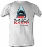 Jaws T-shirt Movie Beach Closed Adult White Tee Shirt