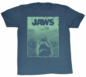 Jaws T-shirt Movie Green Jaws Adult Blue Heather Tee Shirt
