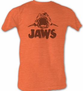 Jaws T-shirt Movie Shark Jaws Neon Adult Orange Tee Shirt