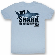 Jaws T-shirt Movie Shark No Homework Adult Light Blue Tee Shirt