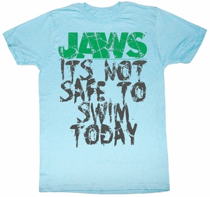 Jaws T-shirt Movie Shark Not Safe Adult Light Blue Tee Shirt