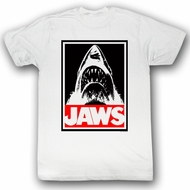 Jaws T-shirt Movie Shark Obey Jaws Adult White Tee Shirt