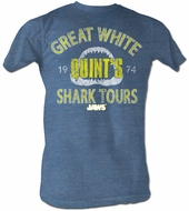 Jaws T-shirt Movie Shark Shark Tour Adult Blue Heather Tee Shirt