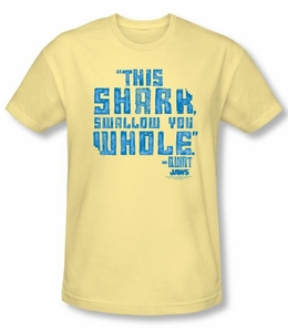 Jaws T-shirt Movie Swallow You Whole Adult Banana Slim Fit Tee Shirt