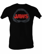 Jaws T-shirt Shark Jaw Classic Adult Black Tee Shirt