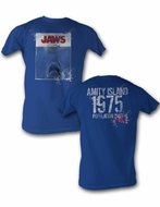 Jaws T-Shirts - 1975 Amity Island Adult Royal Blue Tee Shirt