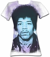 Jimi Hendrix Juniors T-shirt - Face Adult White Tee Shirt