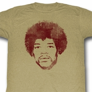 Jimi Hendrix Shirt Face It Adult Brown Heather Tee T-Shirt